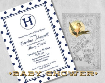 Sweet Classics Navy Blue Baby Boy Baby Shower Invitations - Simple Monogram and Polka Dots - Printed Navy Blue Baby Shower Invitations