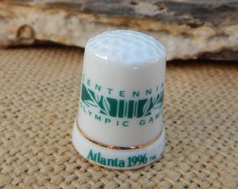 Centennial Olympic Games Atlanta 1996 Porcelain Thimble  ~  Olympic Souvenir Thimble  ~  Olympic Thimble  ~  Atlanta 1996 Olympic Thimble