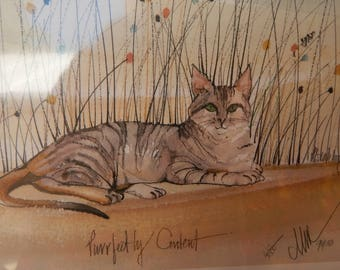 """P Buckley Moss  """"Purrfectly Content"""" Limited Edition Print ~ RARE P Buckley Moss """"Purrfectly Content"""" Limited Edition Print 612/1000"""