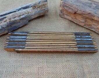X46 Lufkin Red End Extension Ruler  ~  Lufkin Wood Folding Ruler  ~  Carpenters Wood Ruler  ~  Folding Wood Ruler  ~  Lufkin Folding Ruler