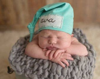 Baby knot hat - personalized baby- newborn baby - hospital hat- name hospital hat -personalized gifts- baby shower gift - baby name hat