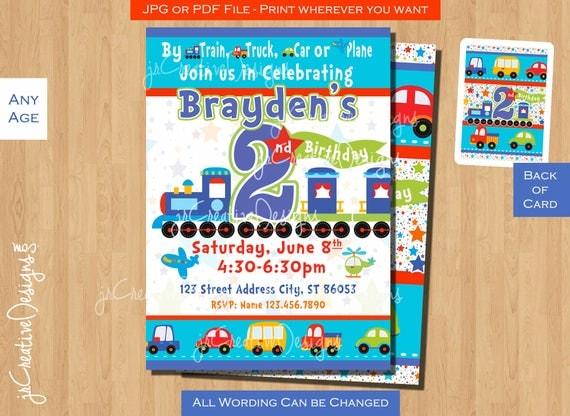 Boy 2nd birthday invitation train birthday invitation all aboard il570xn filmwisefo