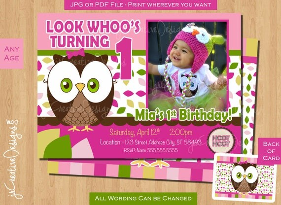 1st Birthday Girl Owl Invite Owl Invitation Look Whoos Turning one