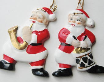 2 Vintage 50s Yona Ceramic Santa Claus Christmas Tree Ornaments