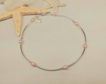Starfish Ankle Bracelet Pink Pearl Ankle Bracelet Silver Starfish Anklet Hot Pink Pearl Anklet 925 Sterling Silver Anklet BuyAny3+1 Free