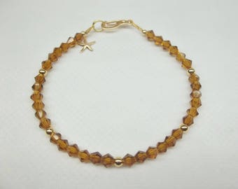 Topaz Anklet 14kt Gold Starfish Anklet Brown Crystal Anklet Brown Anklet 14kt Gold Ankle Bracelet BuyAny3+Get1 Free