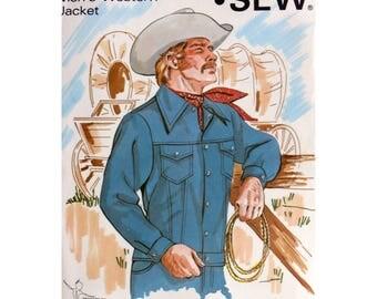 Men's Western Jacket, Pattern, Size 42 44 46, KWIK 460, UNCUT, Cowboy Shirt, Denim Jacket, Western Wear, Kierstin Martensson, Jean Jacket