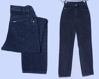 Vintage Lee Jeans Black Denim High Waisted Mom Jeans Jeans 24 x 29