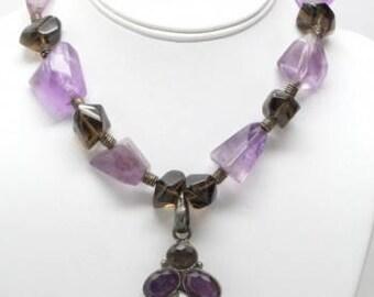 Natural amethyst and smoky quartz necklace