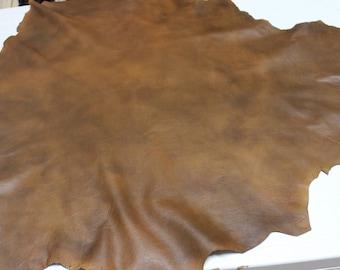 Italian Lambskin Lamb leather skin skins hide hides TAN BROWN DISTRESSED 7sqf #A2401