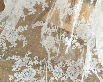 Dotted Bridal Alencon Lace Fabric by Yard in Ivory for Wedding Gown Bridal Dress Veil Costume  Boleros Bodices