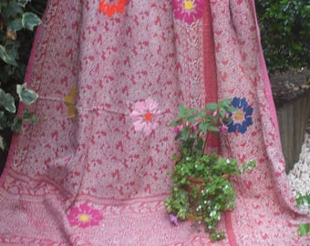 Soft Red vintage kantha quilt, Kantha throw, Sari blanket, Denim blue kantha quilt, Yellow Sari throw, Kantha blanket,Boho throw