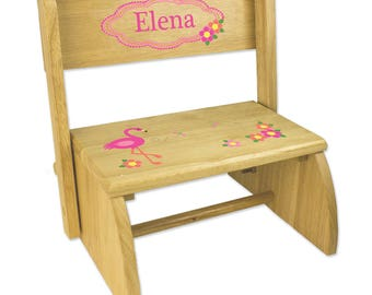 Personalized Natural Flip and Folding Step Stool with Pink Flamingo Design-stoo-nat-342
