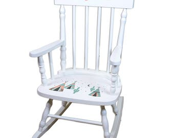 Personalized White Childrens Rocking Chair with Coral TeePee Design-spin-whi-242b