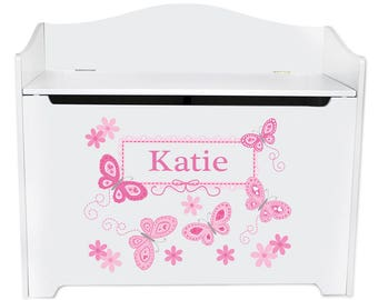 Personalized Toy Box Bench with Pink Butterflies Design-bench-whi-300a
