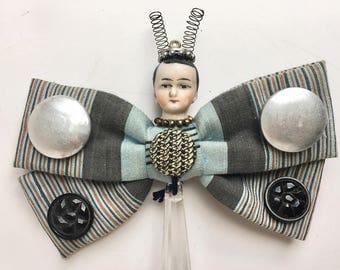 bow tie butterfly doll ornament, handmade original art assemblage, vintage fairy man, mixed media art by Elizabeth Rosen