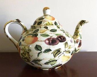 Chintz Fruit Teapot / Formalities by Baun Bros. / China Teapot / Eden Fruit Chintz / 4 Cup Pot