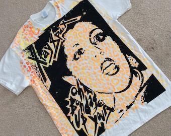 "Punk Rock Tshirt - Xray Spex- Leopard print -Bondage up yours - Poly Styrene -Westwood London punk Tee- M38""- L40""- XL42"""