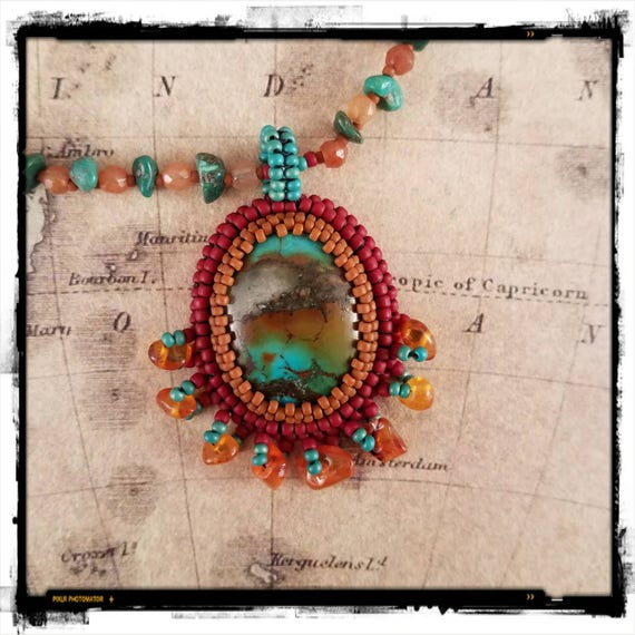 Turquoise Necklace Embellished with Amber and Carnelian
