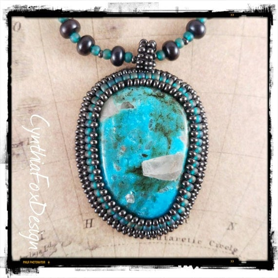 Natural Nacizari Turquoise Pendant on a Black Fresh Water Pearl Necklace