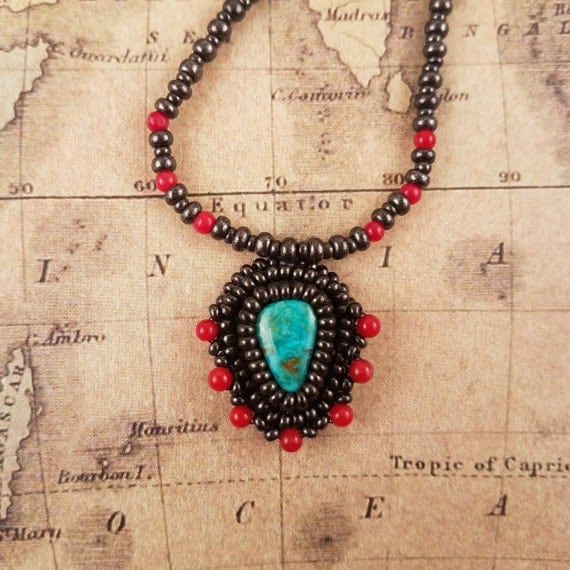 Sweet Small Blue Turquoise and Red Coral Pendant