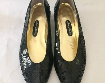Vintage 1980s Ann Marino Black Sequin Flats Shoes 8 M