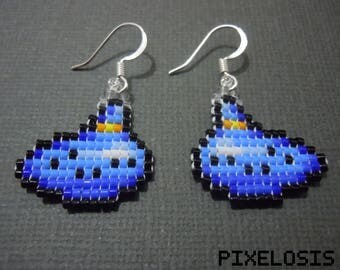 Glass Bead Ocarina Earrings, Video Game Jewelry, Nintendo Earrings, Handmade, Pixelated, Legend of Zelda, 8 Bit, Miniature Pixel Art, Link