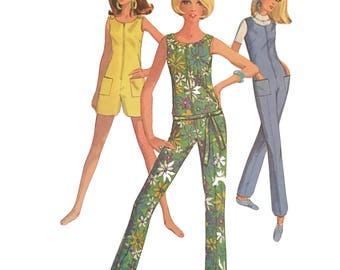 Vintage 1967 RETRO Jiffy Simplicity 7133  Misses Two Length  JUMPSUIT or ROMPER Pattern 10