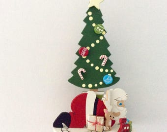 Emgee Ornament - Santa Under the Tree - Train - Hawaii made Ornament - vintage Christmas - hand painted ornament - collectible