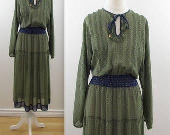 SALE Diane Freis Boho Peasant Dress - Vintage 1980s Chiffon Festival Dress