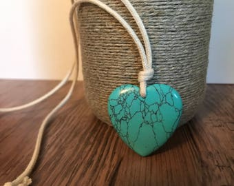 ORGANIC Nursing Necklace / Mama Necklace - Turquoise HEART on Certified Organic Cotton Cord (Adjustable)