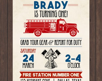 Vintage Firetruck Birthday Invite