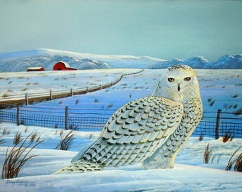 Snowy Owl Print, Bird of Prey, Bird Print, Snow Scene, Barn print, Landscape, Wall Art, Home Decor, Gifts, Wall Decor, Painting,