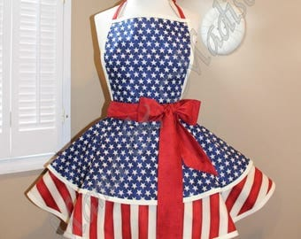 American Flag Woman's Retro Apron With Tiered Skirt And Square Bib...Plus Sizes Available