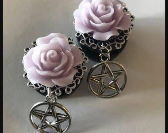 PICK SIZE Silver Pentagram Hoop Pastel Goth Lavender rose Ear Gauge Plug  Girly Dangle Plugs