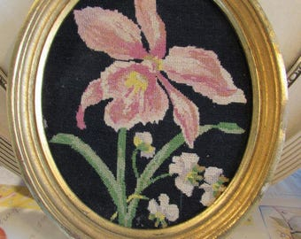 Antique, vintage French hand made needlepoint framed picture of flowers.