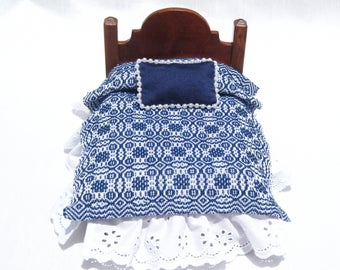 Dollhouse Coverlet 12th Scale Blanket Handwoven Coverlet Blue Whig Rose Coverlet 12th Scale Dollhouse Bedding Small Doll Blue Bedding