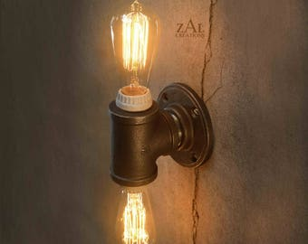 Wall Light. Ceiling Light. Vanity Light. Sconce. Industrial. Steampunk. Edison. Twin bulb. Double bulb.