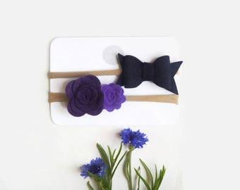 Baby Headbands - Baby Headband Set - Baby Hair Bow and Flower Headband Set - Navy and Purple