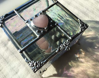 Stained Glass Jewelry Box|Stained Glass Box|Rose Quartz Heart|Beveled Glass|Glass Art Box|Jewelry|Jewelry Storage|Handcrafted|Made in USA