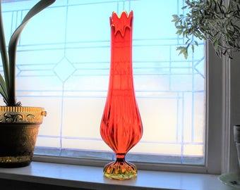 "Large Vintage 1960s Amberina Swung Glass Vase 18.5"" Mid Century"