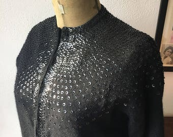 60s sequined and beaded black cardigan