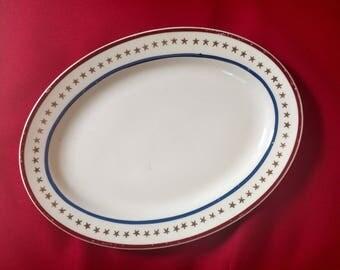Vintage Stetson 22 KT Gold Stars Stripes Plate Platter Americana China STT369