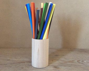 set of 5 wooden pencil holders, desk organizer, modern office decor, container for crayons, stationery organizer, unfinished wood