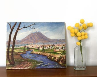 Vintage Oil on Canvas Landscape Painting Original Artist Signed Wall Art Mountain Town Vintage Art Signed Painting Vintage Oil Painting