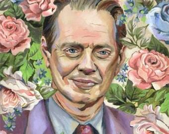 Steve Buscemi - Oil Painting - Original Painting - Original Art - Oil Portrait - Floral Painting - Floral Portrait - Pop Culture - Painted