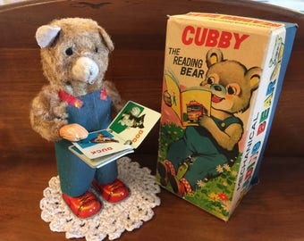 Vintage Mechanical Wind Up Bear Cubby The Reading Bear antique toys rustic toy shop teddy bear book read wind up key Japan tin litho child