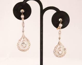 Antique 14K Diamond and Paste Earrings