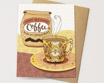 Perky Coffee - coffee card, coffee greeting card, young and perky coffee grounds, coffee lover
