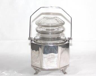 Antique silver plate and glass preserve, jam or pickle jar. Antique silver plate EPNS preserve pot. Art Deco preserve pot